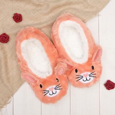 """Носки-тапочки пушистые """"Зайка"""", цвет персиковый"""