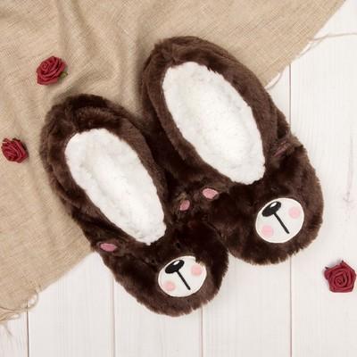 """Носки-тапочки пушистые """"Мишутка"""", цвет коричневый"""