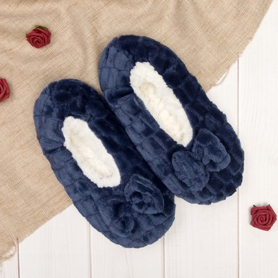 """Носки-тапочки """"Плюшевые бантики"""", цвет синий"""