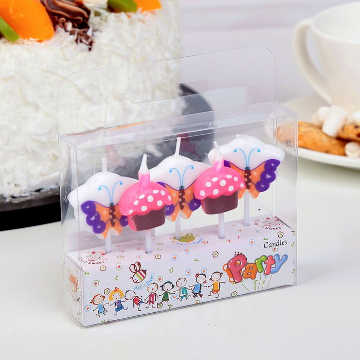 """Набор свечей в торт (5 шт) """"Бабочки и пирожное"""" - фото 35609084"""