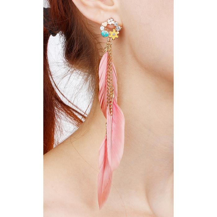 """Серьги перья """"Жар-птица"""" три пера на цепочках с цветами, цвет розовый"""