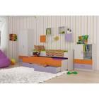 """Комплект мебели """"Витамин"""", кровать, комод, шкаф, полки 4 шт, цвет белый/сиреневый/оранжевый   378118"""