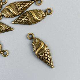 "Decor art metal ""Cone ice cream"" bronze 2,5x0,7 cm"
