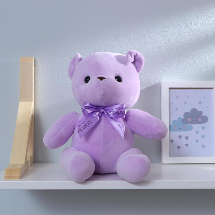 """Мягкая игрушка """"Мишка с бантиком"""" с присоской, цвет фиолетовый"""