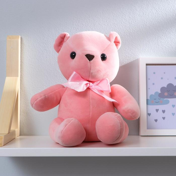 """Мягкая игрушка """"Мишка с бантиком"""" с присоской, цвет розовый"""