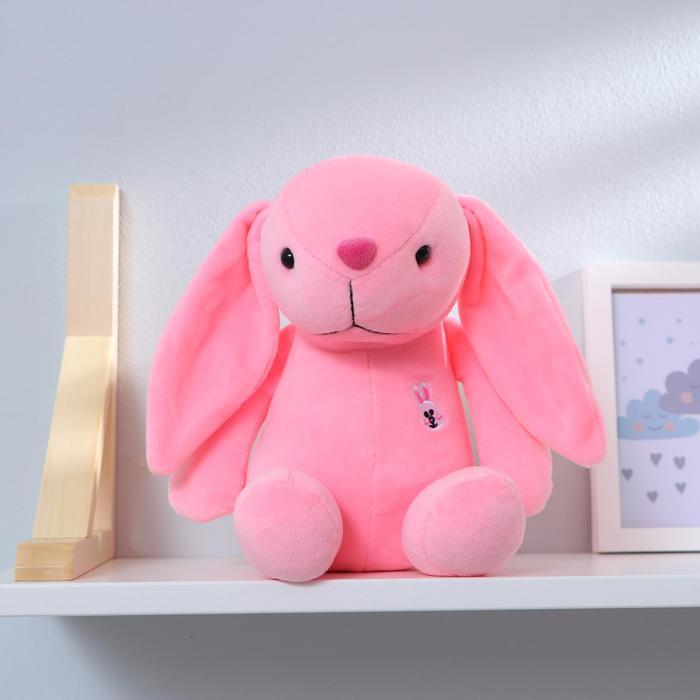 """Мягкая игрушка """"Зайка с вышивкой"""" с присоской, цвет розовый"""
