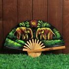 """Веер бамбук с блестками """"Два слона"""" 25 см"""