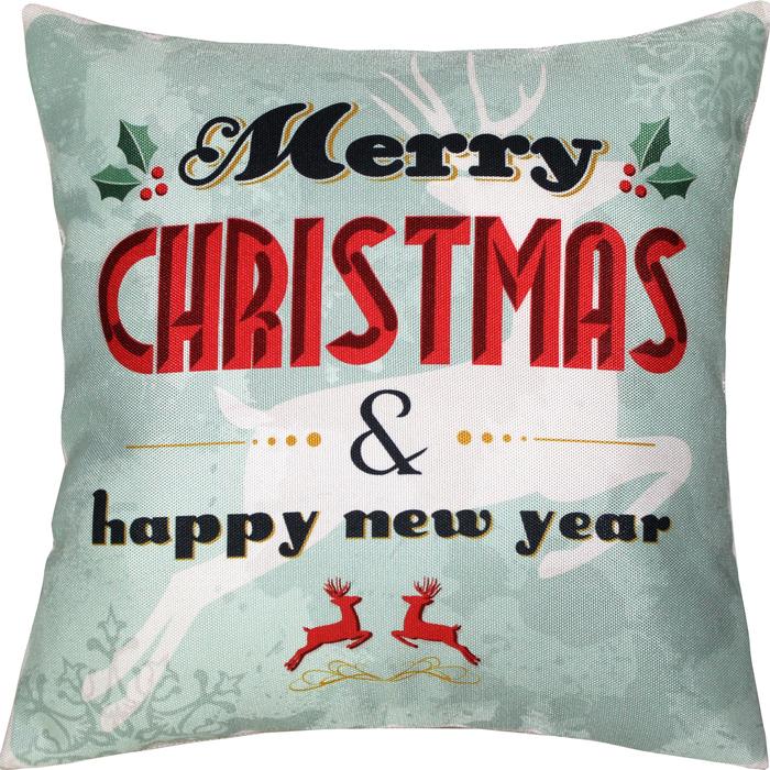 Наволочка Merry Christmas & Happy new year 38х38 см, саржа, 240г/м, пэ100%