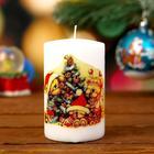 "Candle cylinder ""Bear in tree"", white, 15х8х5см"
