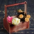 """Кашпо флористическое """"С Любовью"""", деревянная ручка, красное дерево, 23х11х22см"""
