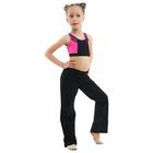 Топ гимнастический Вега, цвет черный-розовый, размер 28
