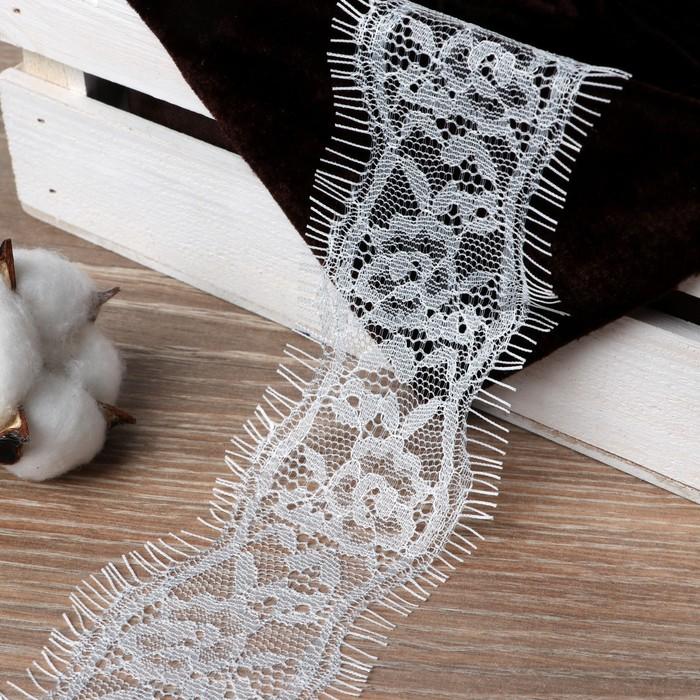 Кружево реснички, 56 мм × 9 ± 1 м, в бобине 3 ленты, каждая по 3 метра, цвет белый