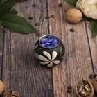 """Подсвечник из мангового дерева """"Голубой цветочек"""" 6х6х5 см"""