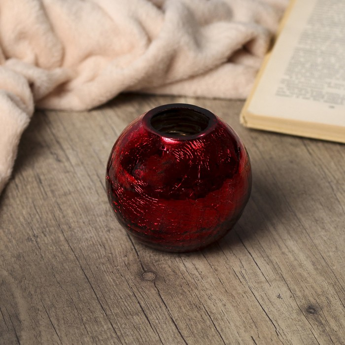 """Подсвечник стекло 1 свеча """"Красный шар. Кракелюр"""" 8,5х9,5х9,5 см"""