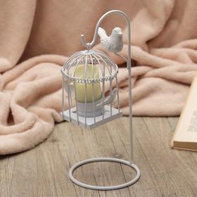"""Подсвечник металл 1 свеча """"Подвесная клетка с птицами"""" белый 25,5х10,5х10,5 см"""