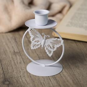 """Подсвечник металл 1 свеча """"Ажурная бабочка"""" белый 11,3х6,5х6,5 см"""
