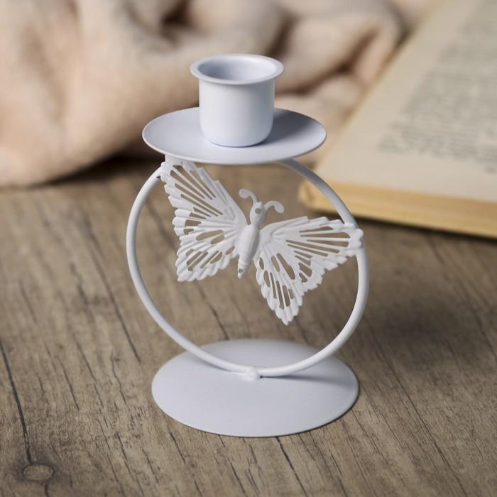 Подсвечник металл 1 свеча ''Ажурная бабочка'' белый 11,3х6,5х6,5 см   3539188