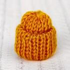 Шапка для игрушек вязаная, цвет горчичный