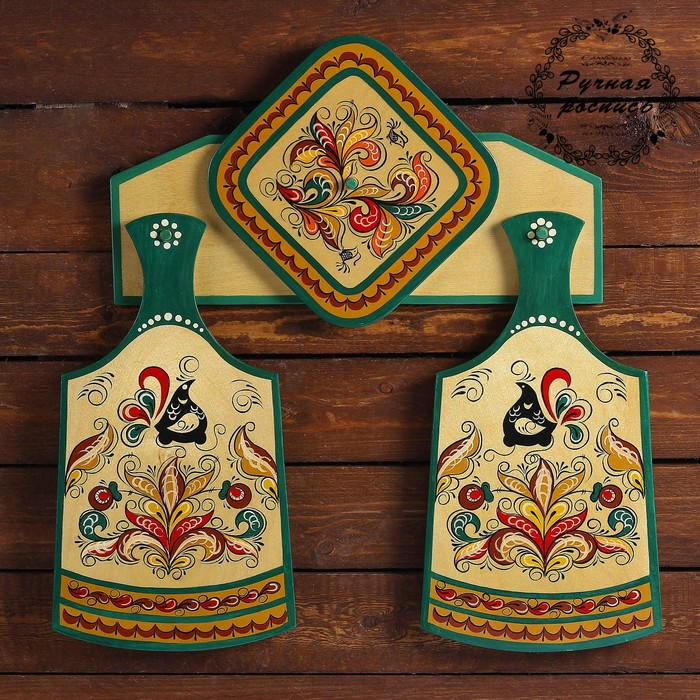 Набор кухонный с подставкой, 4 предмета, ракульская роспись