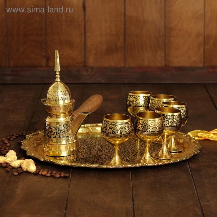 """Набор посуды золотистый с черным """"Восточный мотив"""": поднос, 6 чашек, чайничек"""