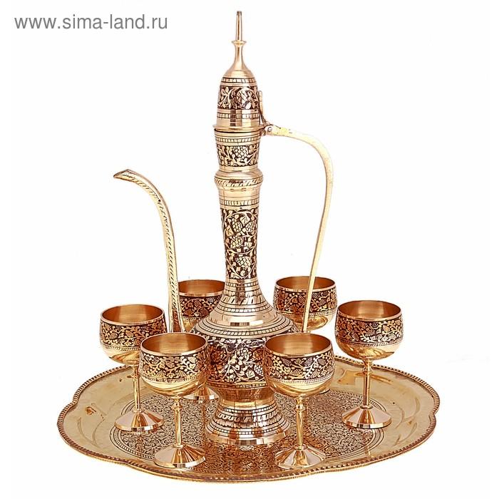 """Набор посуды золотистый с черным """"Арабская ночь"""": поднос, 6 чашек, чайник"""