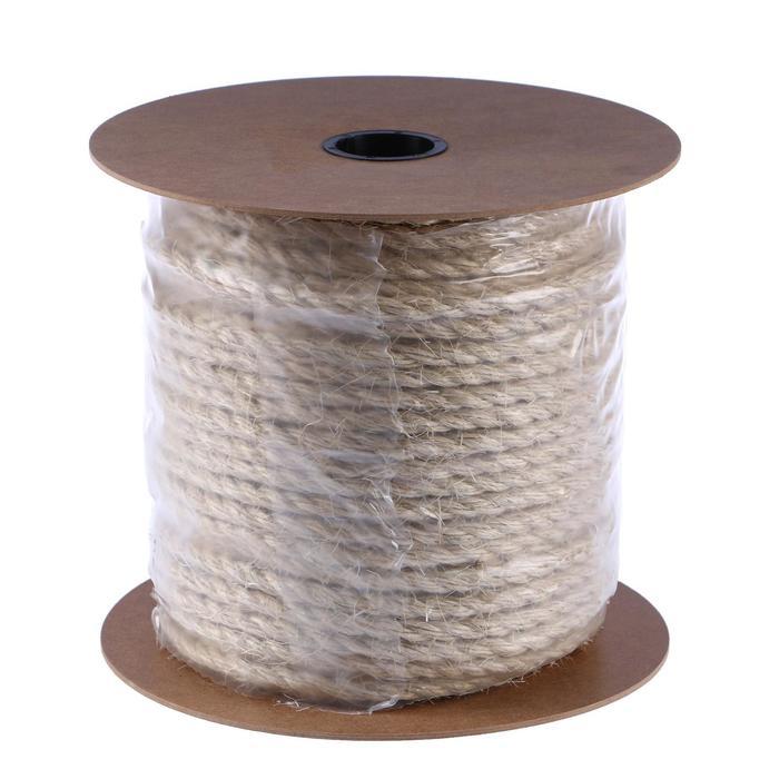 Верёвка сизалевая кручёная 10 мм, катушка (100 м)