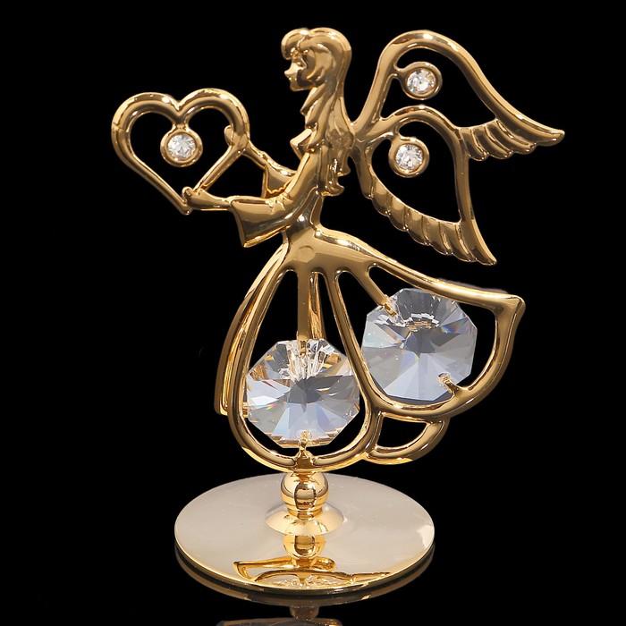 Сувенир «Ангел с сердцем», 5,5×3.2×7 см, с кристаллами Сваровски