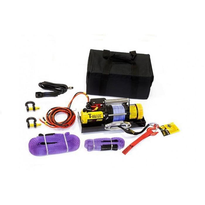 Лебедка переносная электрическая T-Max ATW PRO 2500 с синтетическим тросом