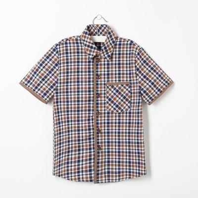 Сорочка для мальчика, рост 98 см, цвет коричневый,клетка