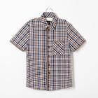 Сорочка для мальчика, рост 116 см, цвет коричневый,клетка