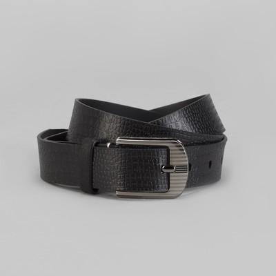 Men's belt, screw, buckle under the dark metal, width - 3 cm, color black