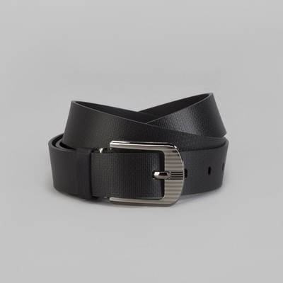 Men's belt, screw, buckle under the dark metal, width - 3 cm, color black