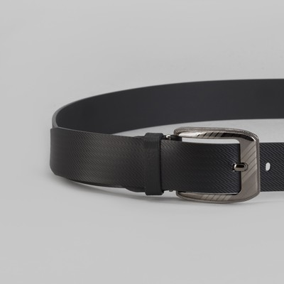 Ремень мужской, винт, пряжка под тёмный металл, ширина - 3,5 см, цвет чёрный