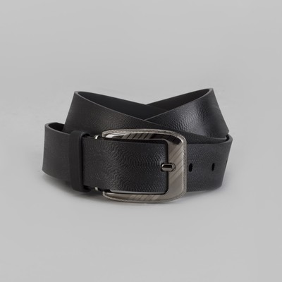 Men's belt, screw, buckle under the dark metal, width 3.5 cm, color black