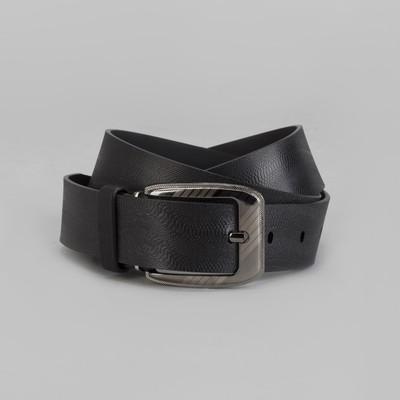 Men's belt, screw, buckle under the dark metal, width 3.5 cm, color black