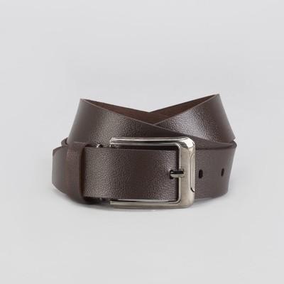 Men's belt, screw, metal buckle, width 3,5 cm, color coffee