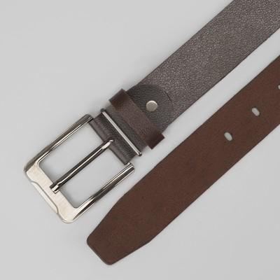 Ремень мужской, винт, пряжка металл, ширина - 3,5 см, цвет кофейный