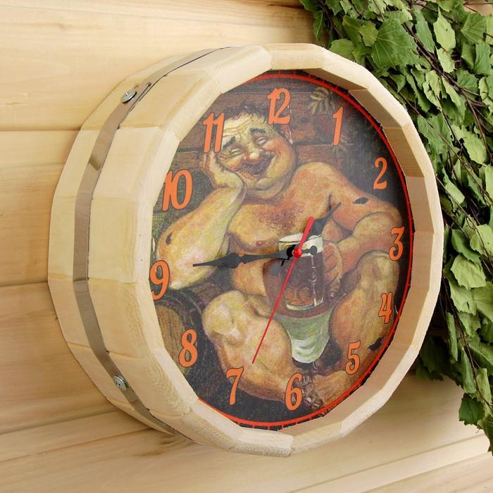 """Часы банные бочонок """"В баньке хорошо"""""""
