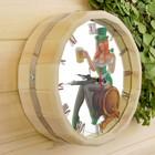 """Часы банные бочонок """"Добропаровъ. Роковая дама"""" с зеркалом"""