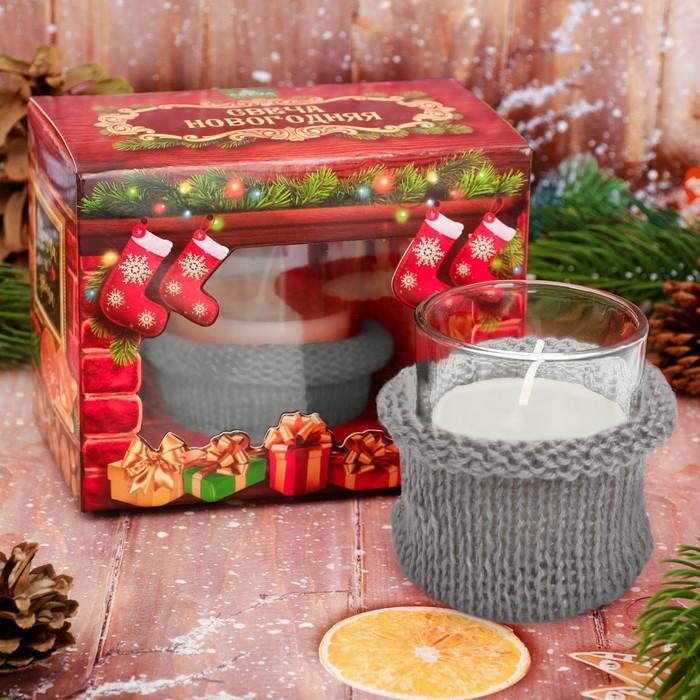 Свеча новогодняя с вязаным декором