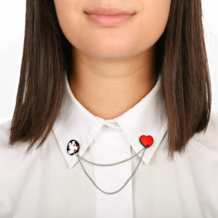 """Значки на воротничок с цепочкой """"Пингвин"""" - фото 240533041"""