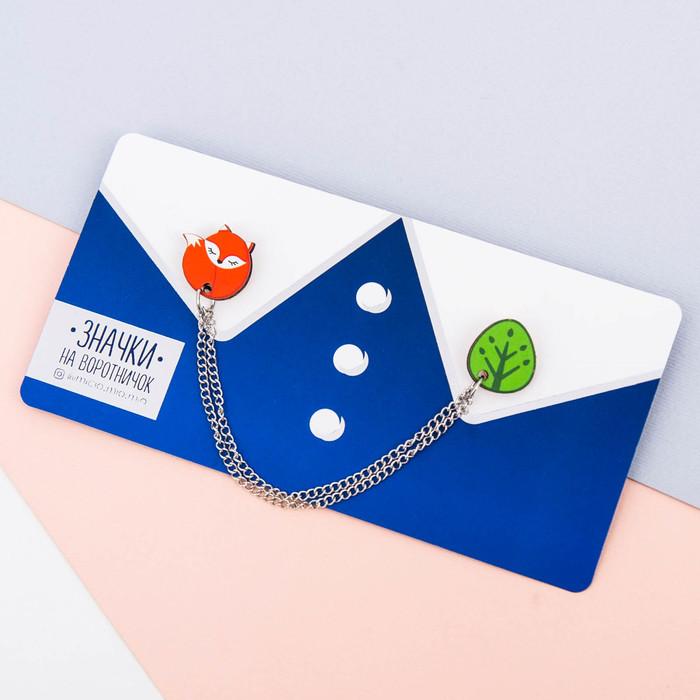 """Значки на воротничок с цепочкой """"Лиса"""" - фото 240533597"""