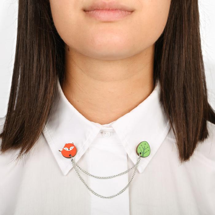 """Значки на воротничок с цепочкой """"Лиса"""" - фото 240533598"""