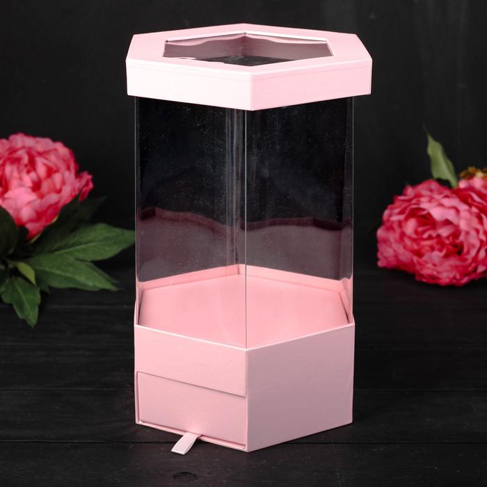 Коробка подарочная, розовый, 17 х 17 х 32,5 см - фото 8877766