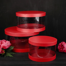 Set boxes 3in1, red, 38 x 38 x 20 - 26 x 26 x 17 cm