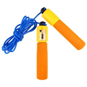 Скакалка со счётчиком, неопреновые ручки, 2,55 м, d=0,5 см, цвета МИКС