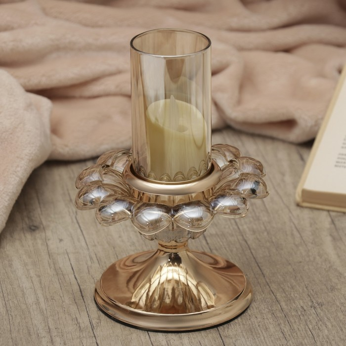 "Подсвечник металл, стекло на1 свечу ""Цветок жизни"" золото 18х12,5х12,5 см"