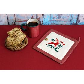 Прихватка 'Рождественские олени' 22,5х22,5 см, саржа, хл 100%, 230 г/м2,  терракотовый Ош
