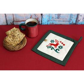Прихватка 'Рождественские олени' 22,5х22,5 см, саржа, хл 100% , 230 г/м2, изумруд Ош