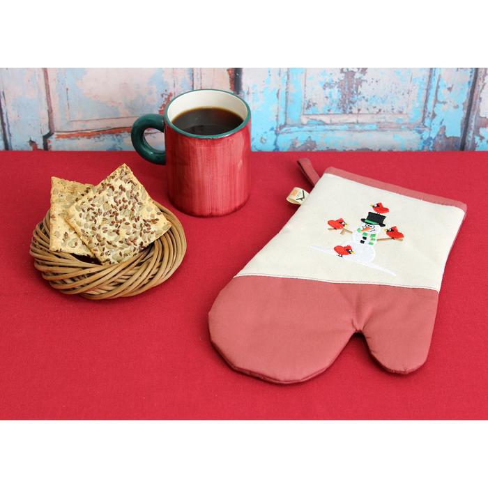 """Варежка-прихватка""""Снеговик и снегири"""" 30х20 см, саржа, хл 100%, 230 г/м2,  розовый"""
